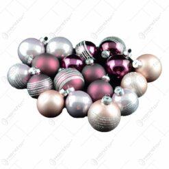 Set 18 globuri realizate din sticla pentru brad de craciun - Diferite modele & culori