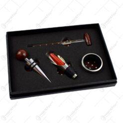 4 accesorii pentru sticla de vin in cutie din hartie cu captusela si capac transparent - Cu termometru