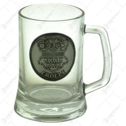 Halba din sticla cu decor embosat - Stema Transilvaniei - Erdely