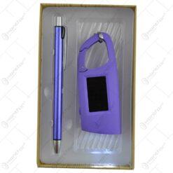 Set cadouri in cutie din hartie cu capac transparent - Pix si breloc cu lanterna - Mai multe tipuri