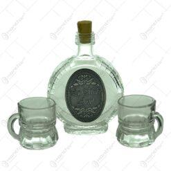 Set plosca mica si pahare de tuica cu maner din sticla. cu decor embosat - La multi ani!