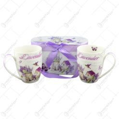 Set 2 cani realizate din ceramica in cutie decorativa - Lavanda Casuta (Model 1)