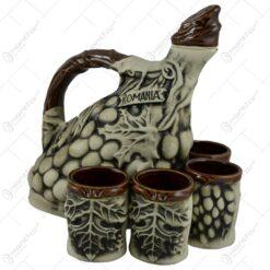Set pentru servirea vinunlui realizat din ceramica - Design Strugure (Model 1)