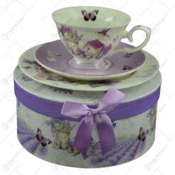 Set mic dejun 3 piese realizate din ceramica in cutie cadou - Lavanda Casuta (Model 1)