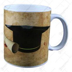 Cana realizata din ceramica pentru absolvire - Design cu palarie si mesaj (Model 1)