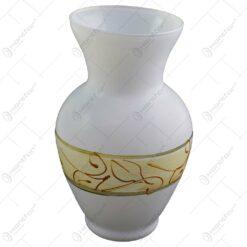 Vaza realizata din sticla - Design cu frunze aurii (Model 2)