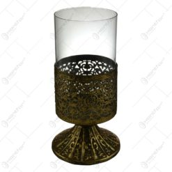Candela realizata din metal si sticla in forma de pahar cu talpa - Design Vintage (Model 2)