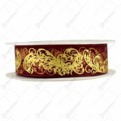 Panglica decorativa realizata din satin - Bordo cu motive aurii (25MMX10M)
