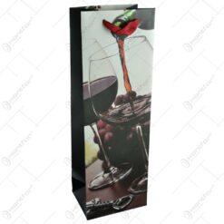 Punga cadou pentru bauturi - Design cu pahare si sticla de vin