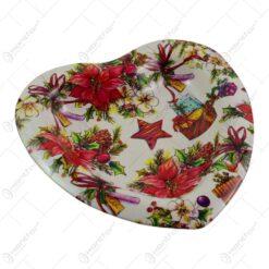 Tava pentru servire realizata din plastic in forma de inima - Design Craciun - Diverse modele