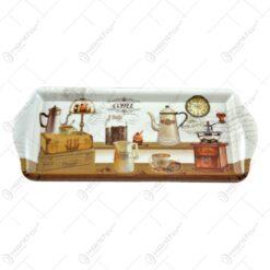 Tava cu manere realizata din material plastic - Design Coffee - Mediu (33x14 CM)