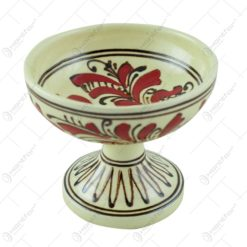 Cupa inghetata din ceramica de Corund pictat cu motive traditionale