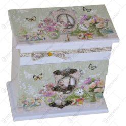 Cutie cu 3 sertare pentru bijuterii - Trandafir - 2 modele (Model 1)