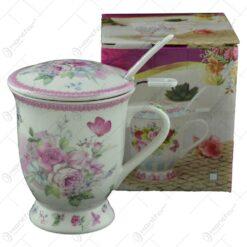 Cana cu infuzor realizata din ceramica pictata - Design Flori de primavara - Roz