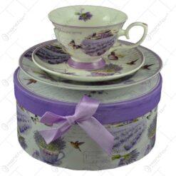 Set mic dejun 3 piese realizate din ceramica in cutie cadou - Lavanda Garden (Model 1)