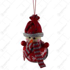 Figurina decorativa de agatat realizata din material textil pentru bradul de Craciun - Om de zapada