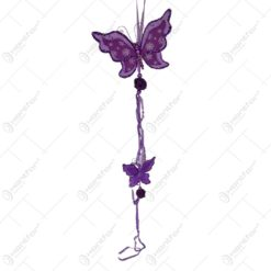 Decoratiune pentru geam in forma de fluture cu panglici - Mov