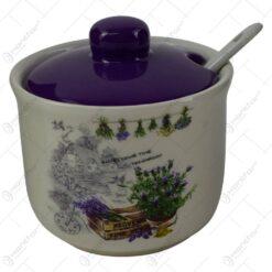 Recipient realizat din ceramica cu capac si lingurita pentru condimente - Design Lavanda Antic