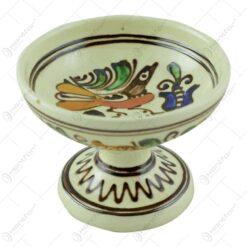 Cupa pentru inghetata din ceramica de Corund pictat cu motive traditionale