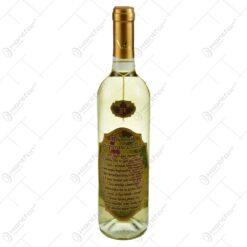 "Vin alb 0.75l cu eticheta personalizata din pluta - Design ""A borivok tizparancsolata"" (Model 2)"