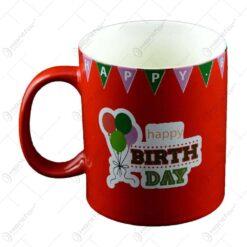 Cana realizata din ceramica in culoare rosie - Design Happy Birthday - Diferite modele