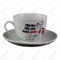 Ceasca cu farfurie - Pentru cea mai buna mama - Funny Mug
