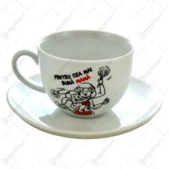 """Ceasca de cafea cu farfurie realizate din ceramica - """"Pentru cea mai buna mama"""""""