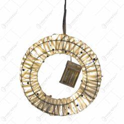 Decoratiune de craciun realizata din sarma si fire textile - Coronita cu leduri