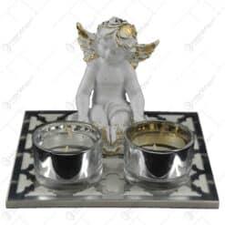 Set candela pentru doua lumanari - Design cu ingeras (Model 1)