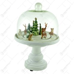 Ornament realizat din rasina si sticla cu LED- uri si trenulet elecric - Craciun - 2 modele