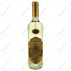 """Vin alb 0.75l cu eticheta personalizata din pluta - Design """"De ziua ta!"""""""