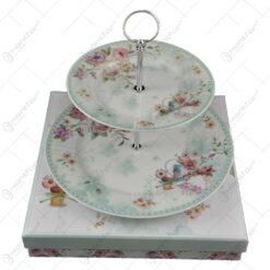 Etajera pentru prajituri realizata din ceramica - Design flori de primavara - Verde