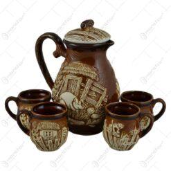 Set ulcior cu 4 cani pentru vin realizate din ceramica - Design rustic - 2 modele (Model 1)