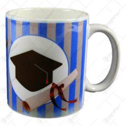 Cana realizata din ceramica pentru absolvire - Design cu palarie si mesaj (Model 2)