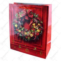 Punga pentru cadou decorata cu tematica craciun - Design craciun - Mare (Model 2)