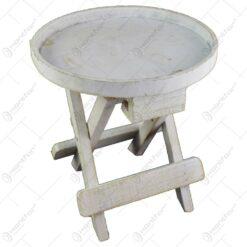Suport decorativ pentru ghiveci realizat din lemn in forma de scaun - Alb (Model 2)