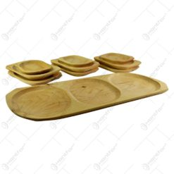 Set vesele din lemn de arin pentru servirea mesei (9 +1)