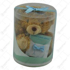 Ursulet cu mesaj realizat din material plusat in cutie cadou - Design cu fundita - Diverse modele