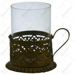 Candela realizata din metal si sticla - Design antic (Model 1)
