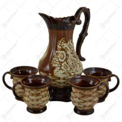 Set ulcior cu 4 cani pentru vin realizate din ceramica - Design rustic (Model 2)