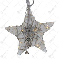 Decoratiune cu led pentru craciun realizat din metal si material textil - Stea