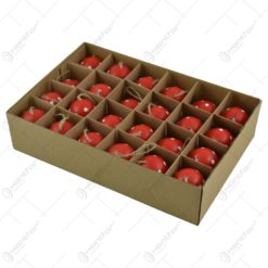 Set 24 oua colorate cu agatatoare pentru Pasti - Design cu buline (Model 2)