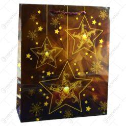 Punga pentru cadou decorata cu stelute si fulgi de zapada - Design craciun - Mare