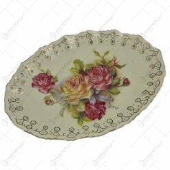 Platou realizat din ceramica cu marginile poleite - Design Trandafiri (30cm) - Oval