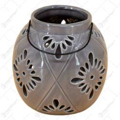 Candela realizata din ceramica cu cu maner din metal - Design Elegant (Mediu)