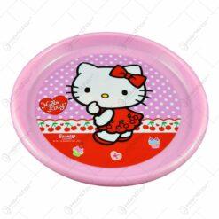 Farfurie plata realizata din material plastic - 22 cm - Design Hello Kitty