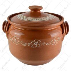 Oala de sarmale din ceramica decorat cu motive traditionale 8 L