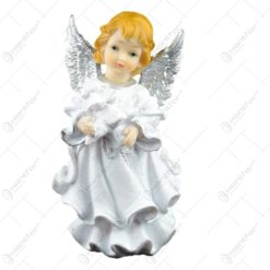 Figurina decorativa realizata din ceramica - Inger - Argintiu - Diferite modele (17 CM)