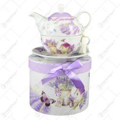 Set ceainic realizat din ceramica in cutie decorativa - Lavanda Casuta (Model 1)
