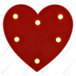 Ornament decorativ realizat din material plastic si dotat cu led - Inima (Tip 1)